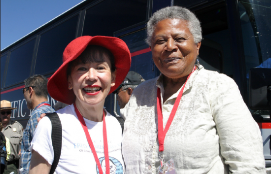 Brown-Trickey meets Karen Korematsu, daughter of the late civil rights icon Fred Korematsu, during the pilgrimage. (Photo by Martha Nakagawa)