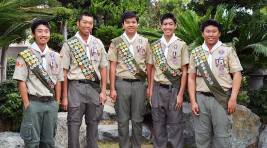 Boy Scout Troop 578 Eagle Scouts (from left) Matthew Nakahiro, Cy Miyake, Christopher Nguyen, Connor Kubo and Nicholas Oune.