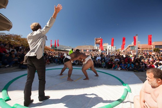 Matches will be held in a dohyo (sumo ring) in San Francisco Japantown's Peace Plaza.