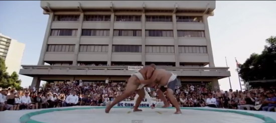 Last year's U.S. Sumo Open was held in Little Tokyo's JACCC Plaza. (USA Sumo)