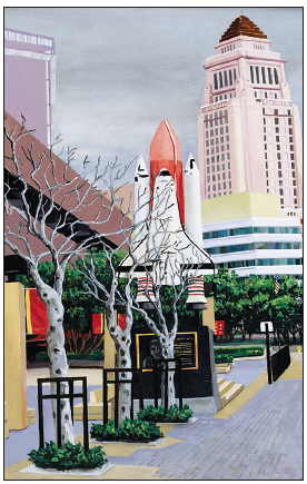 """The Space Shuttle Challenger Memorial and City Hall are seen in one of the paintings by Barbara A. Thomason in her new book """"100 Not So Famous Views of L.A."""""""