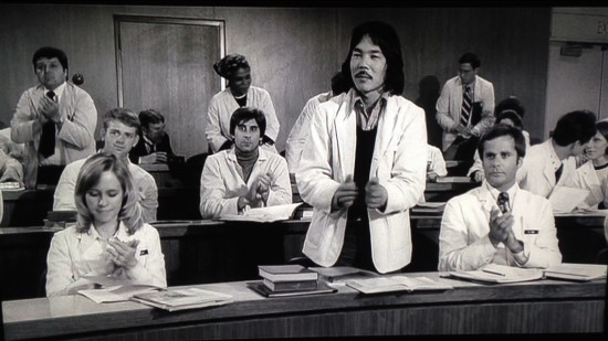 "Cory Shiozaki (center) in a scene from ""Young Frankenstein."""