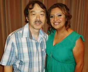 "At the pre-screening for ""Cristela,"" Guy Aoki with Cristela Alonzo."