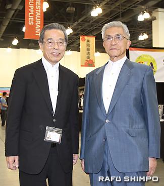 日本食とレストランエキスポを開催した共同貿易の山本耕生社長(左)と金井紀年会長