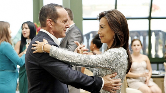 "Agent Coulson (Clark Gregg) and Melinda May (Ming-Na Wen) dance in this week's episode of ""Marvel's Agents of S.H.I.E.L.D."""
