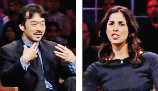 "Guy Aoki and Sarah Silverman debated in a 2001 episode of Bill Maher's ""Politically Incorrect."""