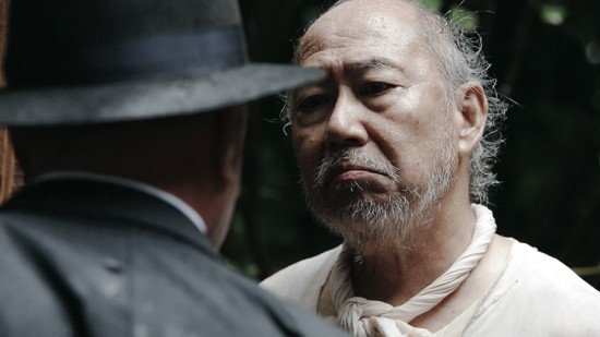 "Grampa (Dann Seki) stands up to the FBI in a scene from ""Under the Blood Red Sun."""