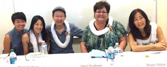 From left: traci ishigo, traci kato-kiriyama, Melvin Fujikawa, Janet Uradomo, Diane Ujiiye.