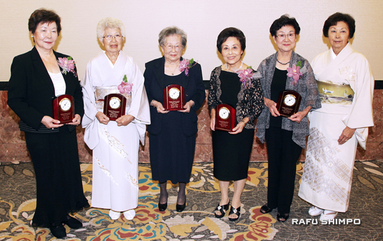 The Japanese Women's Society of Southern California honored five women with its distinguished service award at the society's 110th anniversary luncheon on Oct. 5. Honorees (from left) Kazuko Doizaki, Hisako Shohara, Kazuye Tsuboi, Yoshiko Yamaguchi, Kiyoko Yoshiyama are joined by President Kay Kayako Inose.