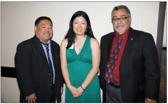 L-R: Kevin Shimabukuro, immediate past president; Joyce Nakashima, president: Mike Padilla, governor, Optimist International Pacific Southeast District