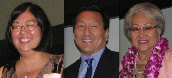 Chapter honorees Michelle Komatsu (Arizona), George Kita (Downtown L.A.), Janet Okubo (Greater L.A.).