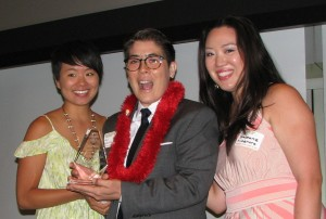 From left: traci ishigo of PSW JACL, awardee riKu Matsuda, Stephanie Nitahara of PSW JACL.