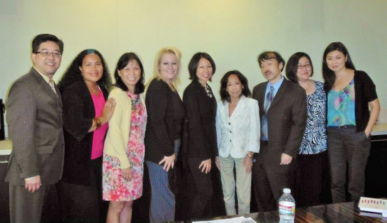 Annual CBS meeting, October 2012. From left: Daniel Mayeda (East West Players, now co-chair of APAMC), Tiffany Smith (VP of diversity, CBS), Priscilla Ouchida (JACL, now co-chair, APAMC), Fern Orenstein (VP of casting, CBS), Marilyn Tokuda (EWP), Sumi Haru, Guy Aoki (MANAA), Miriam Nakamura-Quan (MANAA), Shinae Yoon (Visual Communications).