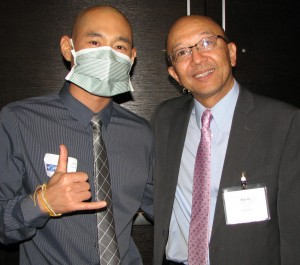 Leukemia patient Alex Tung and A3M Director Shin Ito.