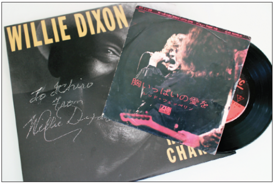 "Willie Dixon autographed ""Hidden Charms"" LP cover and Japanese ""Whole Lotta Love"" 7"" single."