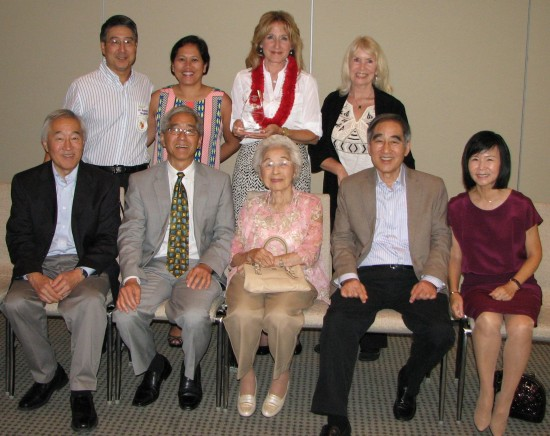 The Historic Wintersburg contingent: (front row, from left) FRONT ROW, LEFT TO RIGHT:  Dave Furuta, Norman Furuta, Martha Furuta (mother of Dave, Norman and Ken, and wife of the late Ray Furuta), Ken Furuta and his wife, Susan Furuta. BACK ROW, LEFT TO RIGHT: Dr. Ron and Judy Shiraishi (Ron is the son of Grace Furuta, the youngest of Charles and Yukiko's daughters, and cousin to Dave, Norman and Ken), me, Jan Furuta (Dave's wife).