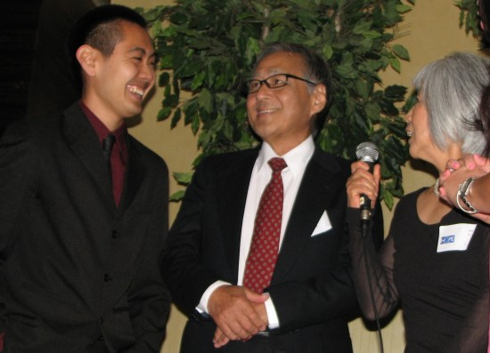 Thomas Yamamoto (left) donated marrow that saved the life of Shunzo Kotani, pictured with his wife Akemi. The two men met for the first time on stage at the A3M gala.