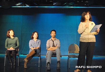 福島の近況を報告するパネリストの(右から)ベバリ・フィンリー・金子さん、金子祐仁さん、洋子コリンさん、美樹ベイさん