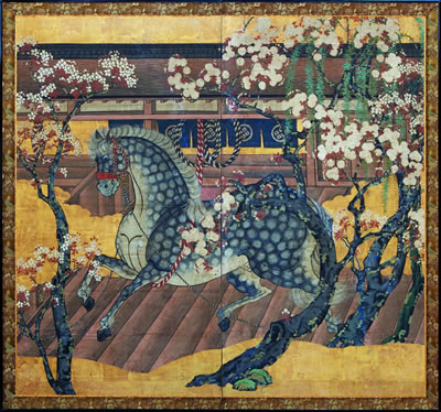 Horses were a popular subject of Japanese screens.