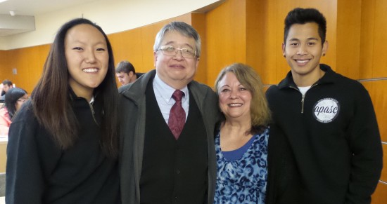 (From left) Vanessa Sing, APASC president, Sam Higuchi, La Verne Abe Harris, and Vichar Phonknumbdersub, APASC vice president, share a moment after their presentation talking about their fathers who attended Washington State University during the 1940s and how internment changed their families lives. (Photo by carl Harris)