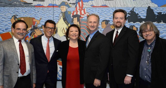 "Pictured in front of Roger Shimomura's most-recognized painting, ""Shimomura Crossing the Delaware,"" currently on display at WSU's Museum of Art, are (from left) Daniel Bernardo, WSU provost and executive vice president; David Ono, co-producer of ""Witness"" and ABC7 Los Angeles news anchor; Patti Hirahara, WSU donor; Jeff MacIntyre, co-producer of ""Witness"" and owner of Content Media Group; Jeff Snell, WSU IT specialist; and Dr. John Streamas, WSU professor. (Photo by Patti Hirahara)"