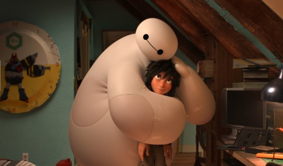 "Baymax comforts Hiro in a scene from ""Big Hero 6."" (Disney)"