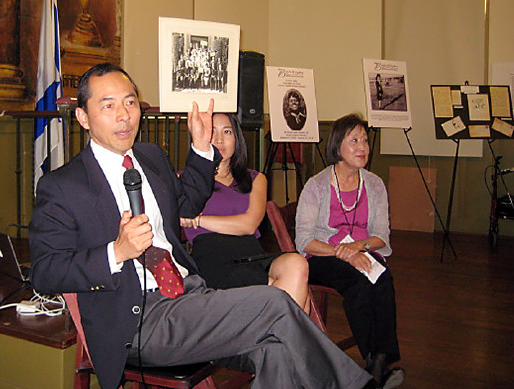 CAP: Dr. Troy Kaji talks about the history of the Japanese Hospital on Nov. 8 in Boyle Heights. He is joined by Carole Fujita (right) and Kristen Hayashi.