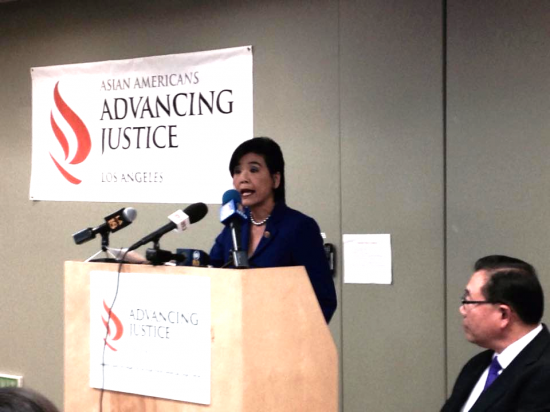 Rep. Judy Chu and Asians Advancing Justice-LA Executive Director Stewart Kwoh at a press conference on Nov. 21.