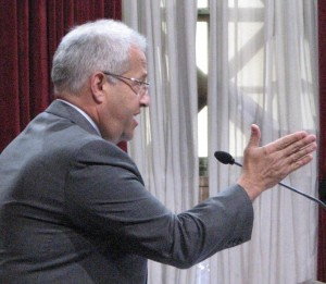 Fred Gaines, attorney for Snowball West Investments, speaks at a Los Angeles City Council meeting in June 2013.