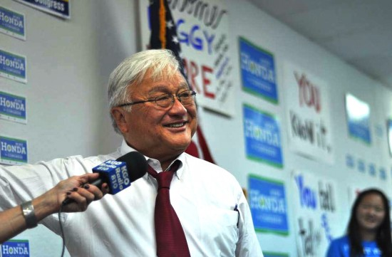 Rep. Mike Honda speaks at his campaign office.