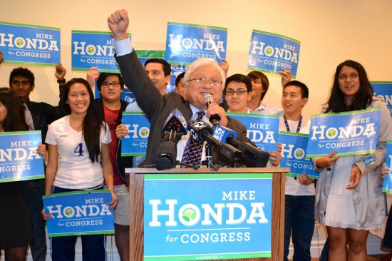 Rep. Mike Honda addresses his supporters.