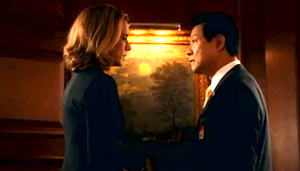 "Secretary of State McCord (Tea Leoni) talks with the Japanese ambassador (James Saito) in a scene from ""Madam Secretary."""