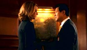 "Secretary of State McCord (Tea Leoni) talks with the Japanese ambassador (James Saito) in a scene from ""Madam Secretary."""