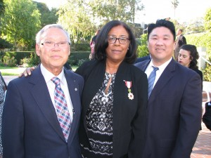 Jan Perry with Rev. Matsubayashi and his son, LTSC Executive Director Dean Matsubayashi.
