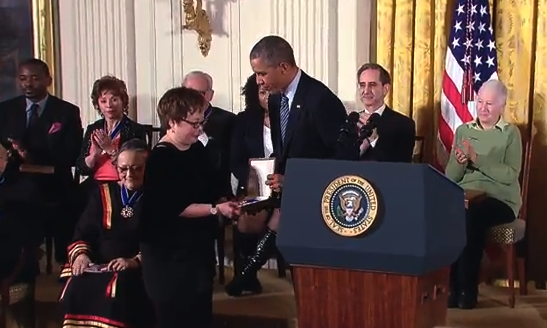 President Obama presents the Presidential Medal of Freedom to the late Rep. Patsy Takemoto Mink's daughter, Wendy. (whitehouse.gov)