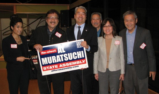 Assemblymember Al Muratsuchi with some of his supporters. From left: Elnie Vannatim, Mike Murase, Muratsuchi, Erich Nakano, Catherine Chuck, Alan Nishio. (J.K. YAMAMOTO/Rafu Shimpo)