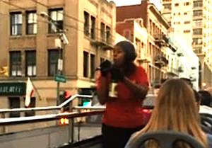 An image from a tourist's video of an unidentified tour guide who went on a profanity-filled tirade about San Francisco Chinatown.