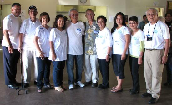 Reunion committee members (from left): John Tsukahira, Hank Iwamoto, June (Iwamoto) Tomita, Judy (Iwamoto) Okita, Fujio Nakagawa, Norman Sakamoto, June (Yahata) Fujioka, Lillian (Noborio) Matayoshi, Aya (Shirasawa) Masada, Jack Fujimoto.