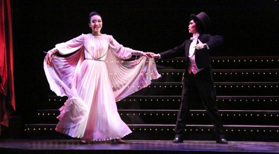 "Chifumi (Grace Yoo) and Yuko (Jannelle Dote) perform in the style of Ginger Rogers and Fred Astaire in East West Players' production of ""Takarazuka!!!"" (Photo by Michael Lamont)"