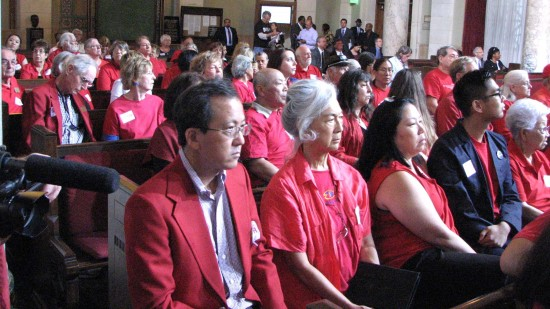 Supporters of historic-cultural designation for the Tuna Canyon Detention Station site attend a Los Angeles City Council meeting in June 2013.