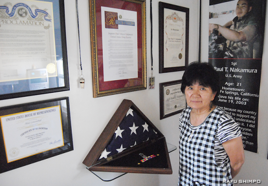 "Yoko Nakamura, mother of Paul T. Nakamura, in his room. It took her 11 long years to be able to say, ""I'm proud of you, Toku."" (RYOKO NAKAMURA/Rafu Shimpo)"