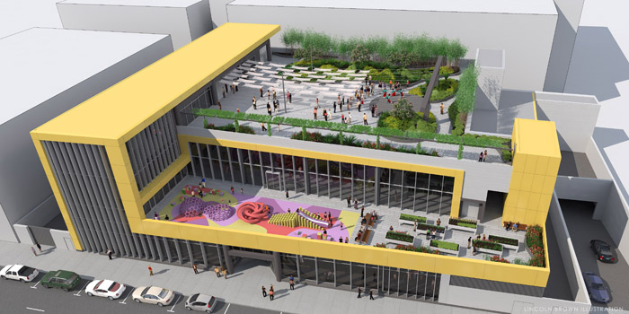 このほど発表されたロサンゼルス武道館の新デザイン。中二階の広場や屋上など、スペースを有効に使ったデザインになっている