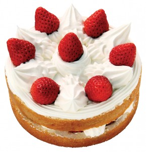 "The Japanese ""shortcake"" is a sponge cake decorated with whipped cream and strawberries. Usually, it is a layered cake. (Courtesy of Fujiya)"