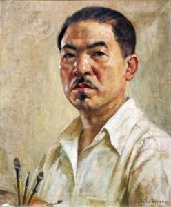 An oil painting of Bunkado  founder Tokio Ueyama