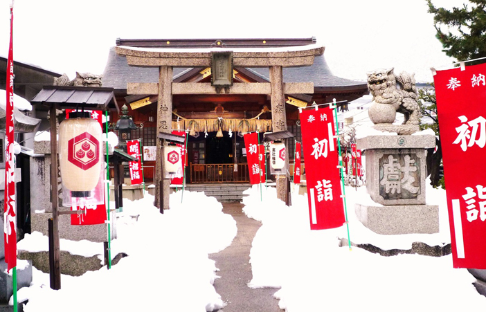 A wintertime view of the the Shusse Inari Jinja from the Izumo Region of Shimane, Japan.
