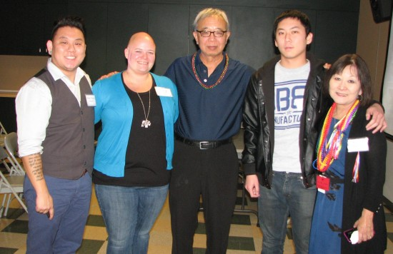 From left: Aiden Takeo Aizumi with wife Mary, father Tad, brother Stefen and mother Marsha.
