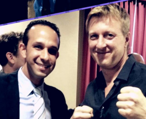 City Councilmember Mitchell Englander and actor William Zabka.