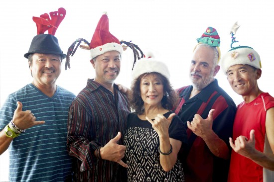 The members of Hiroshima are (from left) Dan Kuramoto, Kimo Cornwell, June Kuramoto, Dean Cortez, Danny Yamamoto. (Photo by Jaimee Itagaki)