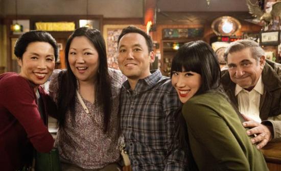 """From left: Jodi Long, Margaret Cho, Steve Byrne, Vivian Bang and Dan Lauria on the set of """"Sullivan & Son."""" (TBS)"""