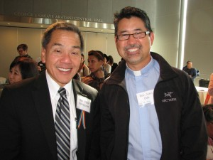 """Rev. Mark Nakagawa (left) of Centenary UMC facilitated a workshop on """"Religious Advocates of LGBTQ Persons and Families"""" with speakers Rev. John Oda (right) of Lake Park UMC in Oakland and Rinban William Briones of Nishi Hongwanji."""